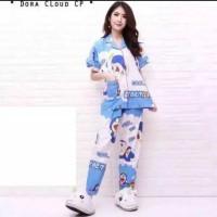 Baju tidur piyama wanita karakter celana panjang tangan pendek
