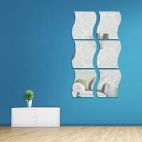 6pcs Wall Sticker Stiker Cermin Kaca 3D Tempel Dinding Model Ombak