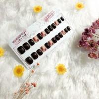 Fake Nails Set / Kuku Palsu Cantik /Fake nails Art marble Hitam - pink