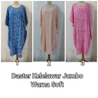 Daster/Longdress Kelelawar Jumbo Pendek Warna Soft Batik Cap Kombinasi