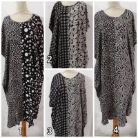 Daster/Longdress Kelelawar Jumbo Batik Cap Motif Hitam-Putih