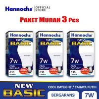 Hannochs - Lampu LED New Basic - 7 watt - Cahaya Putih (Paket 3 PCS)