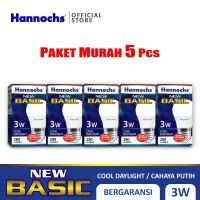 Hannochs - Lampu LED New Basic - 3 watt - Cahaya Putih (Paket 5 PCS)