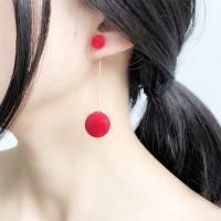 Anting Panjang Korea Wanita Bola Pompom Tassel Earrings Aksesoris