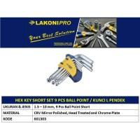 BALL POINT HEX KEY SHORT SET 1,5-10mm (9 PCS) / KUNCI L PENDEK LAKONI