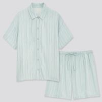 Baju Tidur Pendek Set Piyama Satin Wanita Uniqlo Stripe Rayon Original - 51 GREEN, S