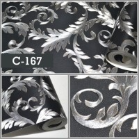 Wallpaper Sale Ready Silver Hitam Klasik 53CM X 10M