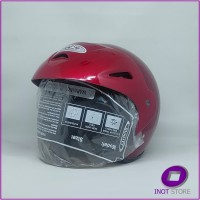 Helm Murah Half Face Dewasa Kaca Clear Cen Cen Pet Merah ACN Polos SNI