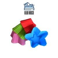 BHouse - Cetakan Kue Muffin Pudding Bahan Silikon Bentuk Bintang Tahan - Hijau