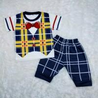 Setelan baju anak laki-laki usia 6-24 bulan gambar Rompi kotak warna