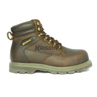 Safety Shoes Heavy Duty Krisbow Vulcan 6IN Brown Sepatu Tali Tinggi