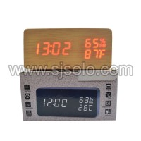 Jam Kayu Wooden Clock Digital 1502 with temperature humidity and date