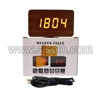 Jam Kayu Wooden Digital Clock 1294 with temperature dekorasi kamar