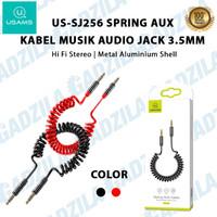 USAMS US-SJ256 KABEL MUSIK AUDIO SPRING AUX CABLE JACK 3.5MM SPEAKER