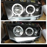 headlamp depan pajero sport 2009 on 2014 projektor angel eyes led