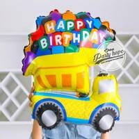 Balon Foil Cars Bulldozer Yellow HBD / Balon Foil Mobil Kuning HBD