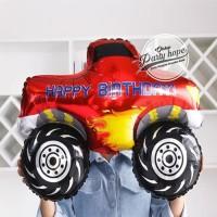 Balon Foil Cars Hotwheels Red HBD / Balon Foil Mobil Drag Race HBD