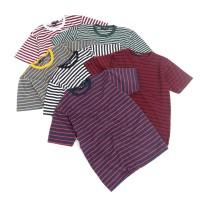 Kaos Garis Lengan Pendek Katun Stripes Unisex Premium Quality