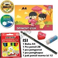 Paket menggambar / paket mewarnai / buku gambar / pensil warna / MURAH