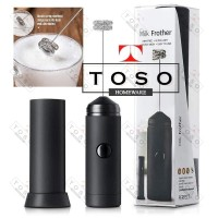 Milk Frother Baterai Elektrik Double Mesh Pembuih Susu Barista Foam