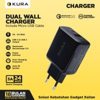 KURA Dual USB Wall Charger 3A PD - QC 3.0 Fast Charging Power Delivery