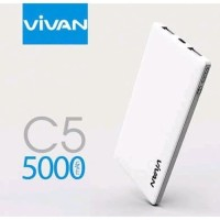 POWERBANK C5 THIN 5000MAH 2 USB PORTABLE FAST CHARGING VIVAN ORIGINAL