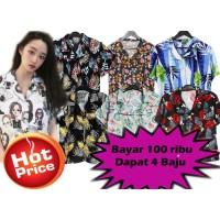 Cuci Gudang 100 Ribu 4 Pcs Kemeja Bali Wanita Bahan Rayon Random Motif
