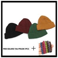 Topi kupluk rajut polos Kupluk beanie hat short kupluk pria dan wanita
