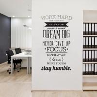 Stiker Dinding Wallpaper WORK HARD Living Room Decoration Quotes