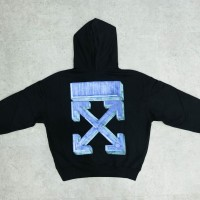 Off White FW20 Marker Over Hoodie - Black/Blue 100% Authentic - M