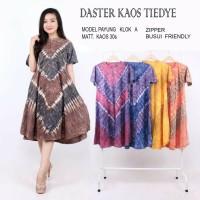 Daster/Longdress Batik Klok Lengan Pendek Bahan Kaos Pakai Reseleting