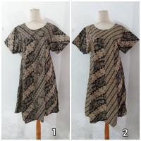 Daster/Longdress Batik Klok Lengan Pendek Warna Hitam Abu