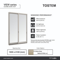 TOSTEM Aluminium Pintu Geser 2 Daun (Sliding Door), L 1600 x T 2100 mm - Natural White