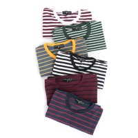 Kaos Garis Lengan Pendek Stripes Unisex Premium Quality