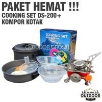 PAKET HEMAT - Cooking Set DS 200 + Kompor Camping Kotak Portable