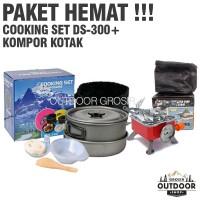 PAKET HEMAT - Cooking Set DS 300 + Kompor Camping Kotak Portable