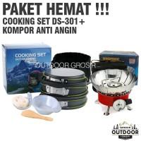 PAKET HEMAT - Cooking Set DS 301 + Kompor Camping Anti Angin Outdoor