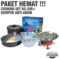 PAKET HEMAT - Cooking Set DS 200 + Kompor Camping Anti Angin Outdoor