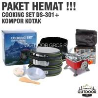 PAKET HEMAT - Cooking Set DS 301 + Kompor Camping Kotak Outdoor