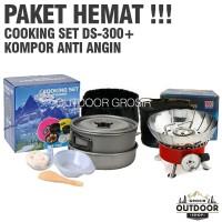 PAKET HEMAT - Cooking Set DS 300 + Kompor Camping Anti Angin Outdoor