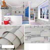 Home Wallpaper Sticker Dinding Batu Alam Abu - 45cm x 10 m