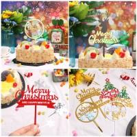 Topper Kue Desain Merry Christmas Bahan Akrilik