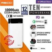 RECCI Powerbank TEN 10000mAh Wireless Charging RT-10000WP Black/White - Putih
