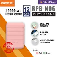 RECCI Powerbank RPB-N06 Dual USB 10000mAh Pink/Hijau - Merah Muda