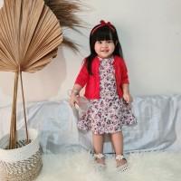 Arum set dress cardigan headband anak perempuan