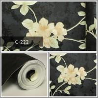 Wallpaper Sale Ready Floral Krem Hitam 53CM X 10M