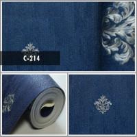 Wallpaper Sale Ready Ikon Klasik Putih Biru Dongker 53CM X 10M
