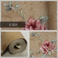 Wallpaper Sale Ready Floral Pink Coklat 53CM X 10M