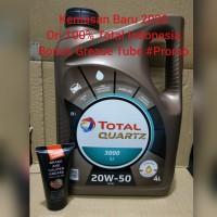 Oli Total Quartz 3000 20w-50 Galon Bonus Grease Tube #Promo