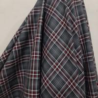 Kain Kotak Semi Wool ( Abu Garis Merah-Putih )